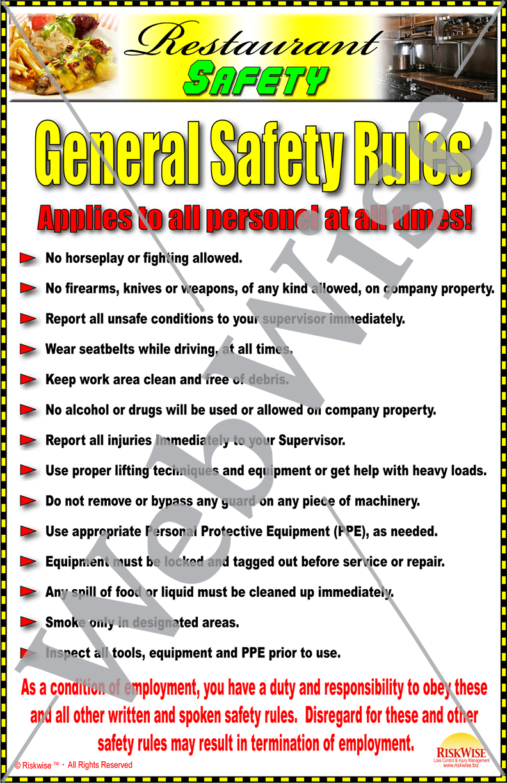 Restaurant Progam Posters Riskwise
