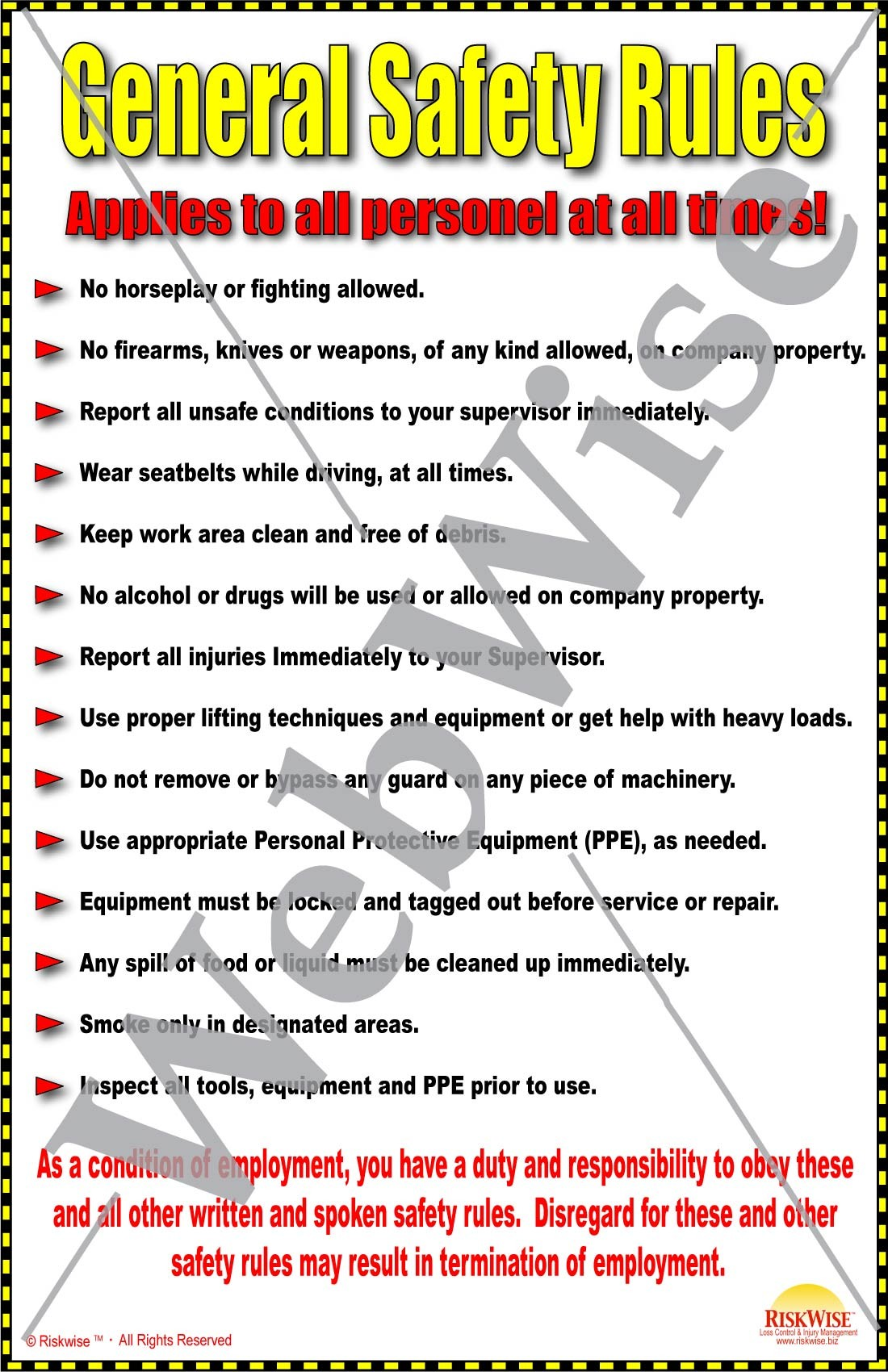 General Safety Rules Poster Riskwise